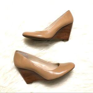 Franco Sarto nude round toe wedge pumps